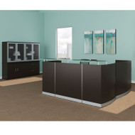 Mayline Medina Laminate Reception Desk with Return and Two Box/Box/File Pedestal Drawers Mocha - MNRSLBB-LDC