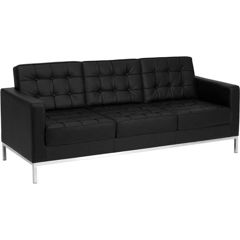 Flash Furniture Lacey Series Contemporary Black Leather Sofa with Stainless  Steel Frame - ZB-LACEY-831-2-SOFA-BK-GG