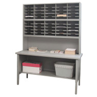 "Marvel 50 Adjustable Slot Literature Organizer with Riser Slate Gray 60""W x 30""D x 76-84""H - UTIL0019"