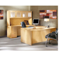 "Mayline Aberdeen Executive U-Shaped Desk 72"" w/Glass Door Hutch Package Maple - AT5-LMA"