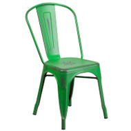 Flash Furniture Distressed Green Metal Indoor-Outdoor Stackable Chair - ET-3534-GN-GG