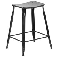 "Flash Furniture Black Metal Indoor-Outdoor Counter Height Saddle Stool 24""H - ET-3604-24-BK-GG"