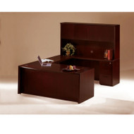 "Mayline Corsica Veneer Executive U-Shaped Bow Front Desk with Wood Doors Hutch 72"" Mahogany - CT2"