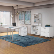Kathy Ireland by Bush Method Collection 72W L-Shaped Desk with Bookcase and File Storage White - MTH029WHSU