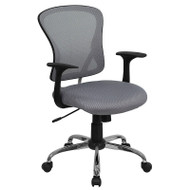 Flash Furniture Mid-Back Gray Mesh Office Chair with Chrome Finished Base - H-8369F-GY-GG