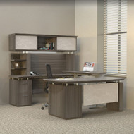 Mayline Sterling Executive U-Shaped Desk 72 with two Pedestals Textured Driftwood - STL40H3-TDW