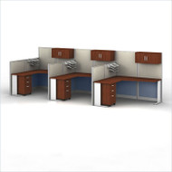 MONTHLY SPECIAL! Bush Furniture Office-in-an-Hour L-Shaped Desk Workstation 3-units - OIAH006HC