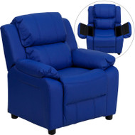 Flash Furniture Kid's Recliner with Storage Blue Vinyl - BT-7985-KID-BLUE-GG