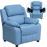 Flash Furniture Kid's Recliner with Storage Light Blue Vinyl - BT-7985-KID-LTBLUE-GG