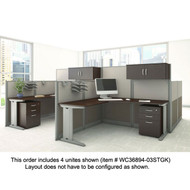 Bush Furniture Office-in-an-Hour L-Shaped Desk Workstation 4-units - OIAH007MOC
