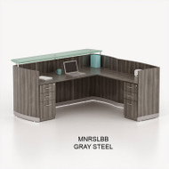 Mayline Medina Laminate Reception Desk with Return and Two Box/Box/File Pedestal Drawers Gray Steel - MNRSLBB-LGS