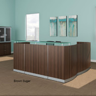 Mayline Medina Reception Station L-Shaped (No Pedestal Files) Textured Brown Sugar Finish - MNRS-RET-TBS