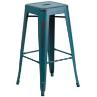 "Flash Furniture Distressed Kelly Blue-Teal Metal Indoor-Outdoor Barstool 30""H - ET-BT3503-30-KB-GG"