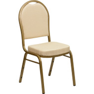 Flash Furniture Hercules Series Dome Back Stacking Banquet Chair with Beige Patterned Fabric - FD-C03-ALLGOLD-H20124E-GG