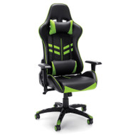 OFM Essentials High-Back Black Leather Racing Style Gaming Chair with Green Accents - ESS-6065-GRN