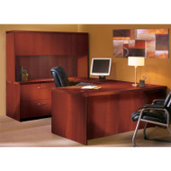 "Mayline Aberdeen Executive U-Shaped Desk 72"" w/Wood Door Hutch Cherry - AT2-LCR"
