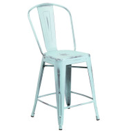 "Flash Furniture Distressed Green-Blue Metal Indoor-Outdoor Counter Height Chair 24""H - ET-3534-24-DB-GG"