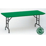 Correll R-Series Heavy Duty Blow-Molded Plastic Folding Table Adjustable Height Colored 30 x 60 - RA3060C