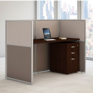 "Bush Furniture Easy Office Straight Desk 60"" Closed with Mobile File Cabinet - EOD260SMR-03K"