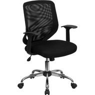 Flash Furniture Mid-Back Black Mesh Office Chair with Mesh Fabric Seat - LF-W95-MESH-BK-GG