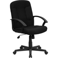 Flash Furniture Mid-Back Black Fabric Executive Office Chair - GO-ST-6-BK-GG