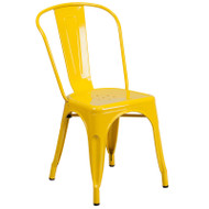 Flash Furniture Yellow Metal Indoor-Outdoor Stackable Chair - CH-31230-YL-GG
