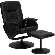 Flash Furniture Massaging Leather Recliner and Ottoman with Leather Wrapped Base - BT-753P-MASSAGE-BK-GG