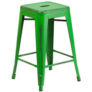 "Flash Furniture Distressed Green Metal Indoor-Outdoor Counter Height Stool 24""H - ET-BT3503-24-GN-GG"