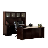 Mayline Mira U-Shaped Desk with Two Pedestals Espresso - MEU1