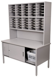 "Marvel 50 Adjustable Slot Literature Organizer with Riser and Cabinet Slate Gray 60""W x 30""D x 76-84""H - UTIL0021"