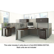 Bush Furniture Office-in-an-Hour L-Shaped Desk Workstation 2-Units Mocha - OIAH008MOC