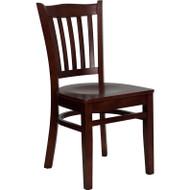 Flash Furniture Wood Vertical Back Chair with Mahogany Finish and Mahogany Wood Seat - XU-DGW0008VRT-MAH-GG