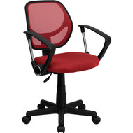 Flash Furniture Mid-Back Red Mesh Task Chair and Computer Chair with Arms - WA-3074-RD-A-GG