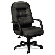 HON Pillow-Soft Series Executive Leather High-Back Swivel/Tilt Chair, Black - 2091SR11T