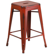 "Flash Furniture Distressed Kelly Red Metal Indoor-Outdoor Counter Height Stool 24""H - ET-BT3503-24-RD-GG"