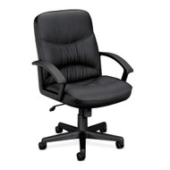 Basyx Black Leather Managerial Mid-Back Swivel/Tilt Steel Chair - VL642ST11