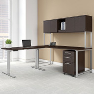 "Bush Business Furniture 400 Series L-Shaped Table Desk 72"" x 30"" with 48"" Height Adjustable Return and Storage, Mocha Cherry - 400S189MR"
