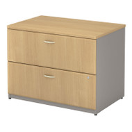 "Bush Business Furniture Series A Lateral File Cabinet in Light Oak 36""W Assembled - WC64354PSU"