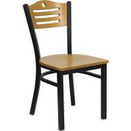 Flash Furniture Slat Back Metal Restaurant Chair with Natural Wood Seat and Back - XU-DG-6G7B-SLAT-NATW-GG