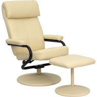 Flash Furniture Contemporary Cream Leather Recliner and Ottoman - BT-7863-CREAM-GG