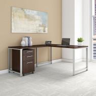 "Bush Business Furniture 400 Series L-Shaped Table Desk 60"" x 30"" w Return and 3-Drawer Mobile Pedestal, Mocha Cherry -  400S130MR"