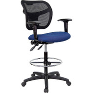 Flash Furniture Mid-Back Mesh Drafting Stool with Navy Blue Fabric Seat and Arms - WL-A7671SYG-NVY-AD-GG