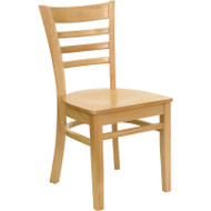 Flash Furniture Wood Ladder-Back Chair with Natural Finish and Natural Wood Seat - XU-DGW0005LAD-NAT-GG