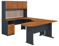 Bush Business Furniture Series A U-Shaped Desk with Hutch, Peninsula and Storage in Natural Cherry - SRA009NC