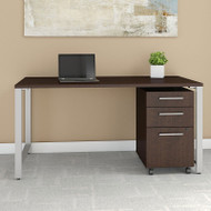 "Bush Business Furniture 400 Series Table Desk 60"" x 30"" with 3 Drawer Mobile Pedestal, Mocha Cherry - 400S150MR"