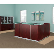 Mayline Medina Laminate Reception Desk with Return and Two Box/Box/File Pedestal Drawers Mahogany - MNRSLBB-LMH