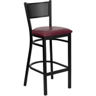 Flash Furniture Grid Back Metal Restaurant Barstool with Burgundy Vinyl Seat - XU-DG-60116-GRD-BAR-BURV-GG