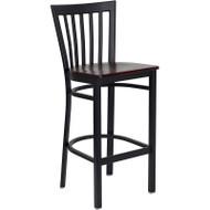 Flash Furniture School House Metal Restaurant Barstool with Mahogany Wood Seat - XU-DG6R8BSCH-BAR-MAHW-GG