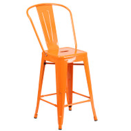 """Flash Furniture Orange Metal Indoor-Outdoor Counter Height Chair 24""""H - CH-31320-24GB-OR-GG"""