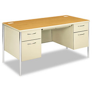 "HON Mentor Series Double Pedestal Desk 60"" x 30"" Harvest / Putty - 88962CL"
